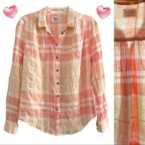 Anthro Holding Horses crinkle cotton pink chiffon button down top, cream gold